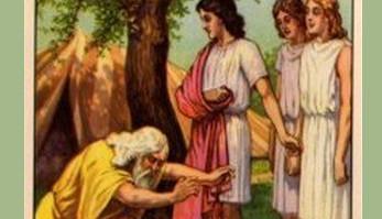 Abraham bows to three angels