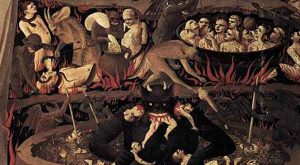 Ancient painting of Devil and Hell