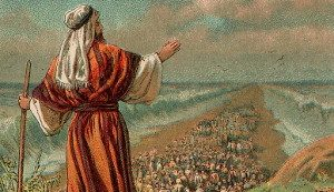 Moses overlooking the Jews going through the Red Sea
